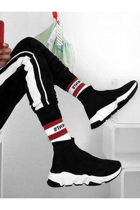 NOVELYA Kadın Taban Beyaz Çoraplı Yüksek Taban Sneakers Ayakkabı