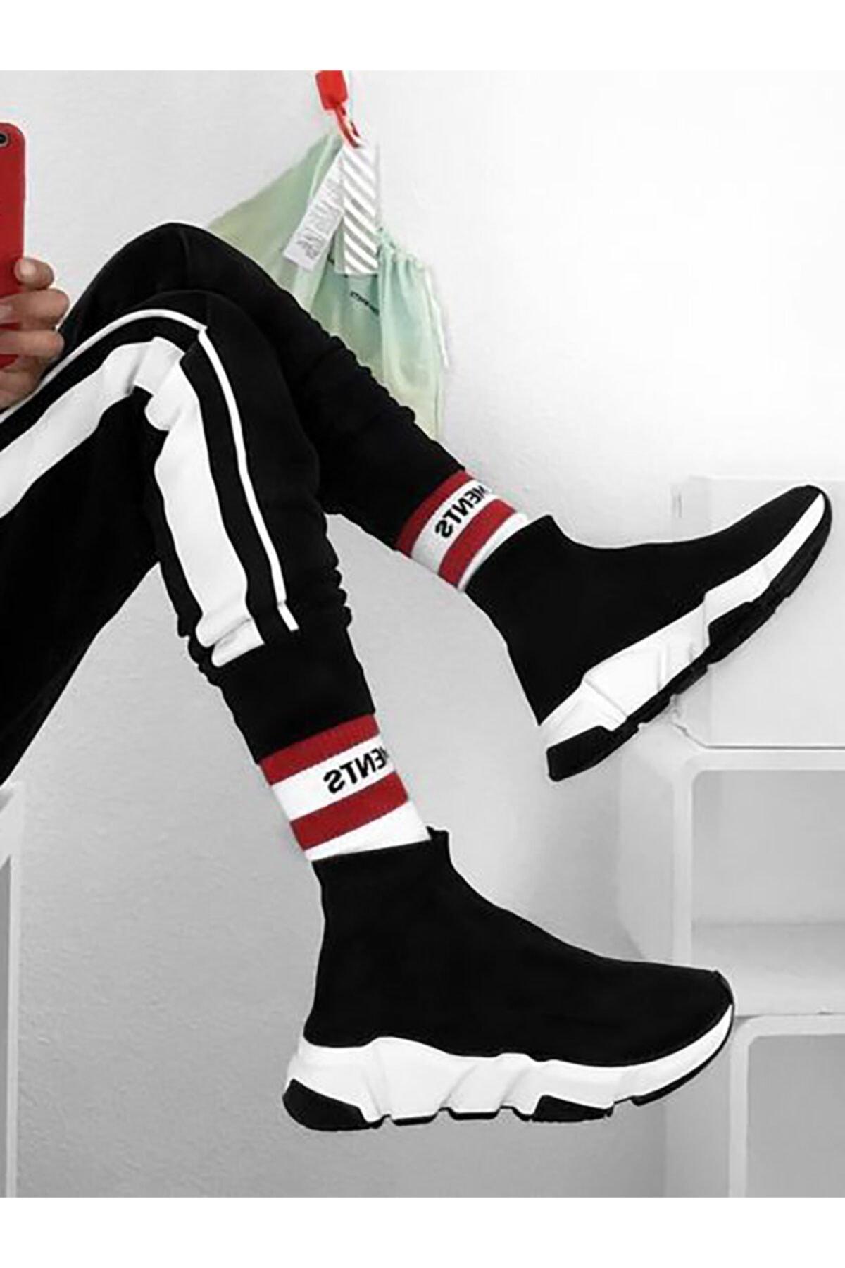 NOVELYA Kadın Taban Beyaz Çoraplı Yüksek Taban Sneakers Ayakkabı 1