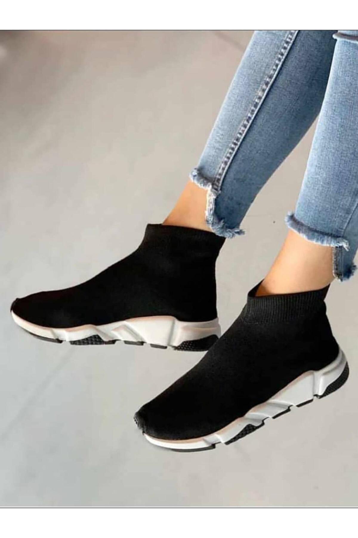 NOVELYA Kadın Taban Beyaz Çoraplı Yüksek Taban Sneakers Ayakkabı 2