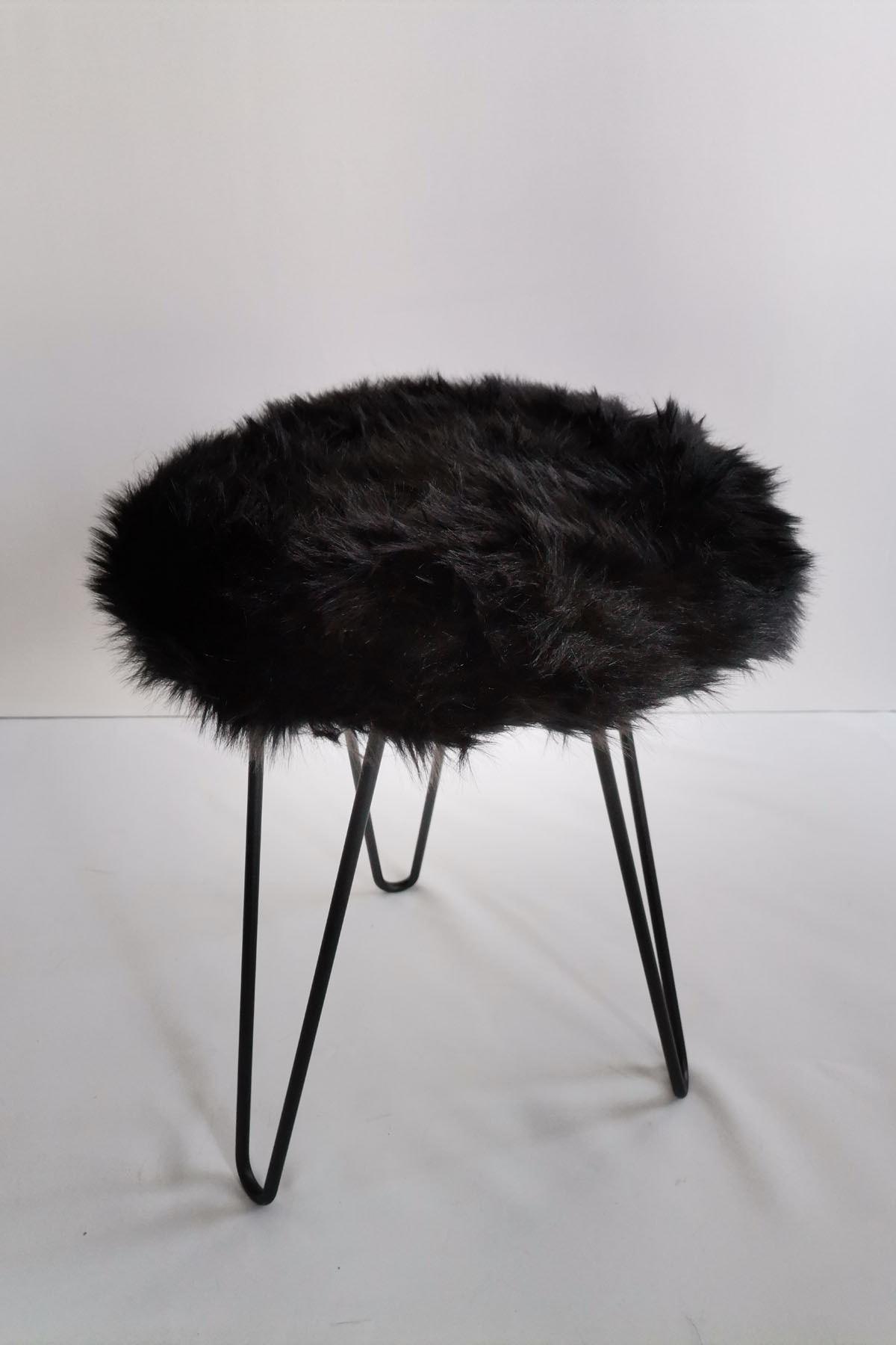 Tarzı Özel Siyah Peluş Puf 2