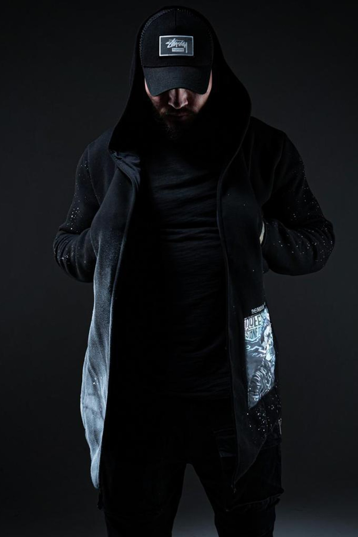 XHAN Siyah Kamuflaj Baskılı Sweatshirt 1KXE8-44333-02 2