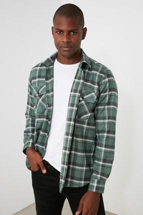 TRENDYOL MAN Yeşil Erkek Ekose Çift Çep Kapaklı Regular Fit Gömlek TMNAW21GO1164