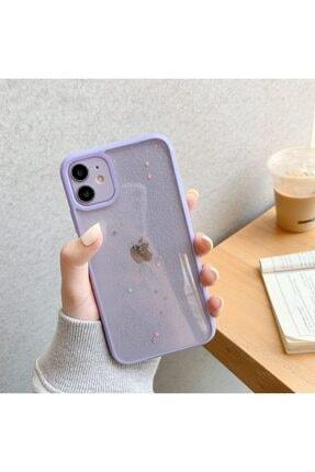 LIME CASES Apple Iphone 12 12 Pro 6.1 Kenarı Lila Simli Yıldızlı Şık Şeffaf Telefon Kılıfı