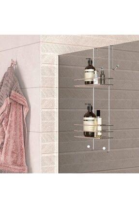 Universal Duşakabin Banyo Rafı Şampuanlık Krom Paslanmaz 2 Katlı Askılı