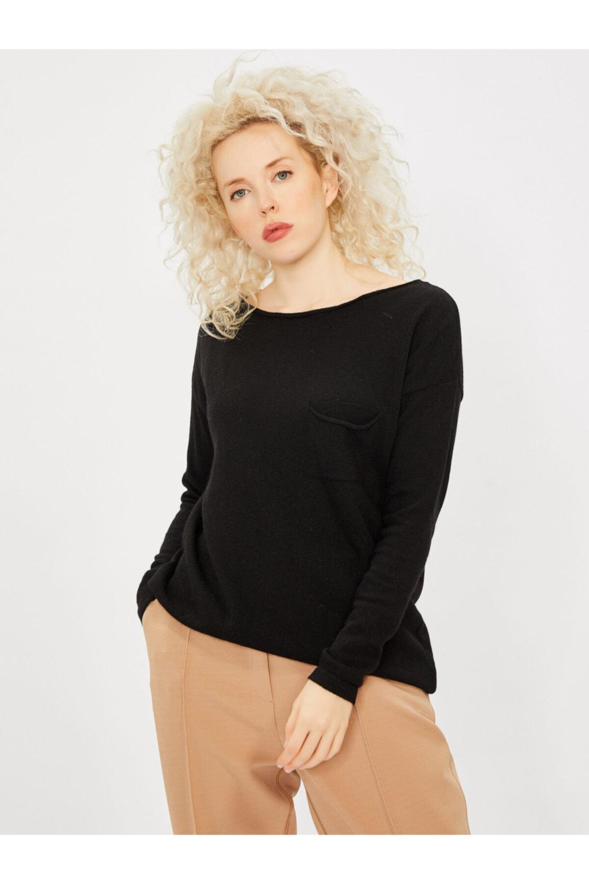 Vekem Kadın Siyah Kayık Yaka Angora Yünlü Bluz 1