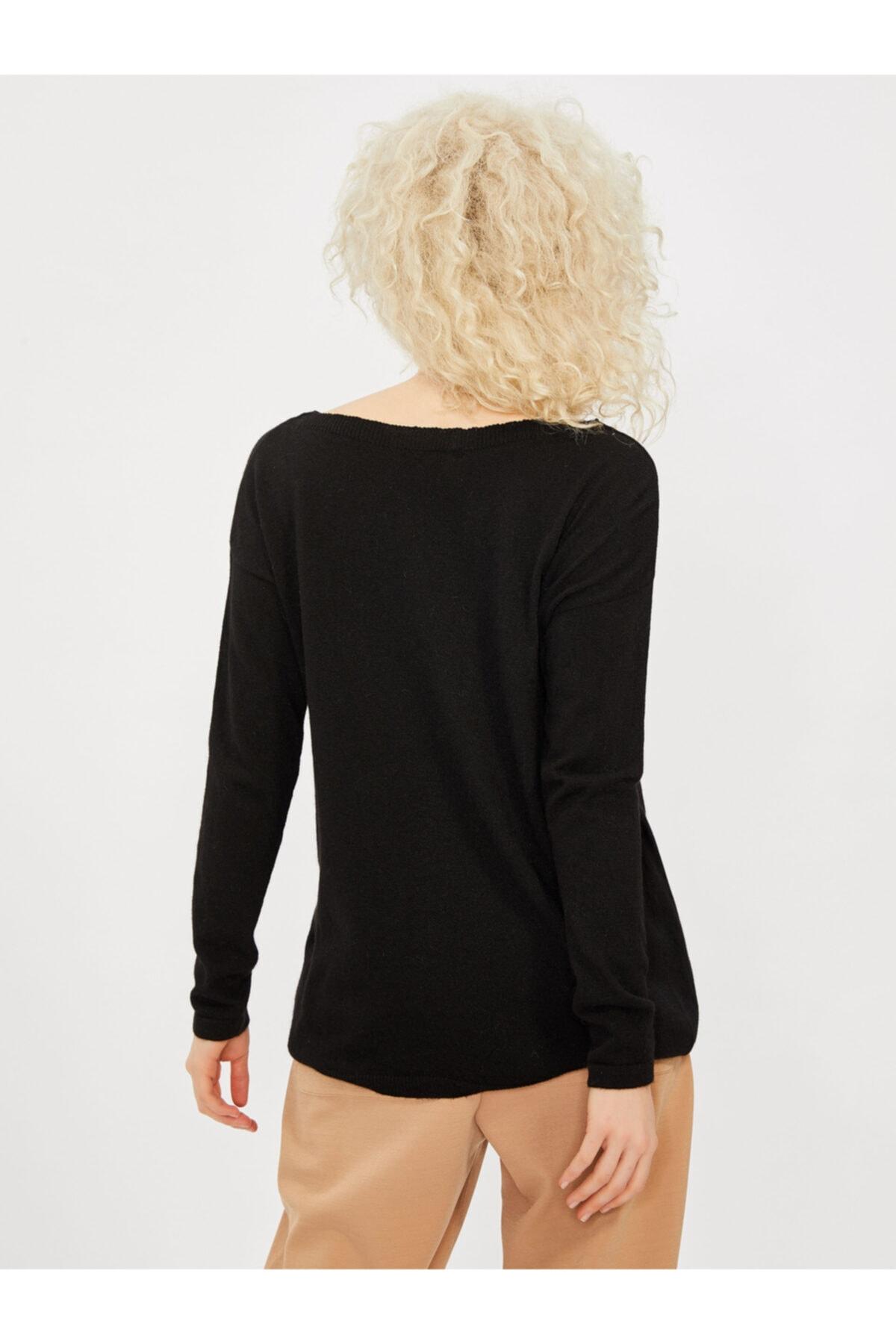 Vekem Kadın Siyah Kayık Yaka Angora Yünlü Bluz 2