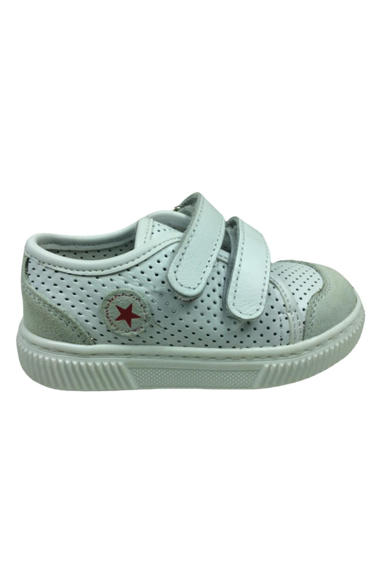 TURKUAZ Erkek Bebek Beyaz Gri Spor Delikli Cırtlı Yürüyüş Ayakkabısı 1