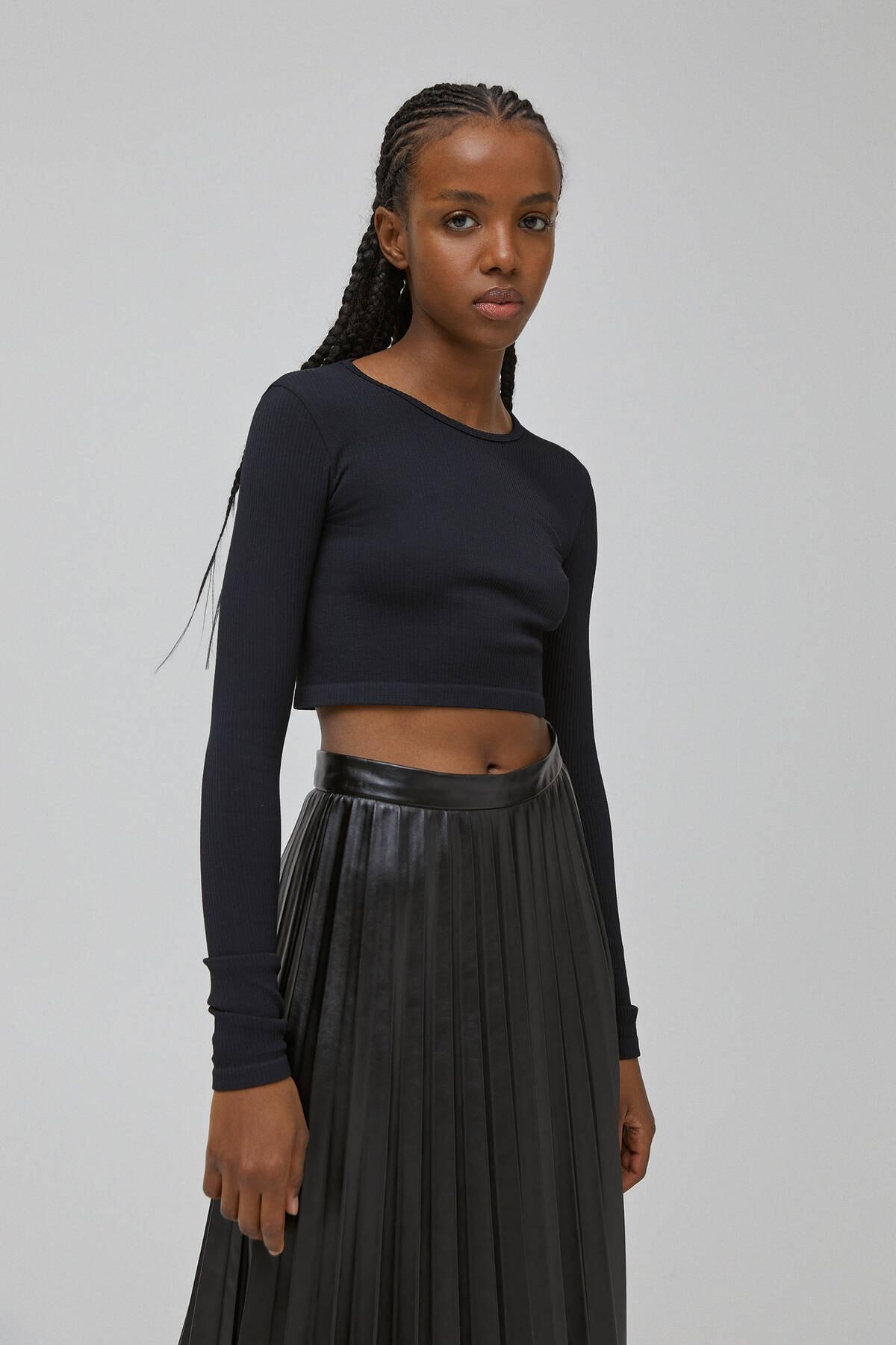 Pull & Bear Kadın Siyah Uzun Kollu Fitilli T-Shirt 04240337 1