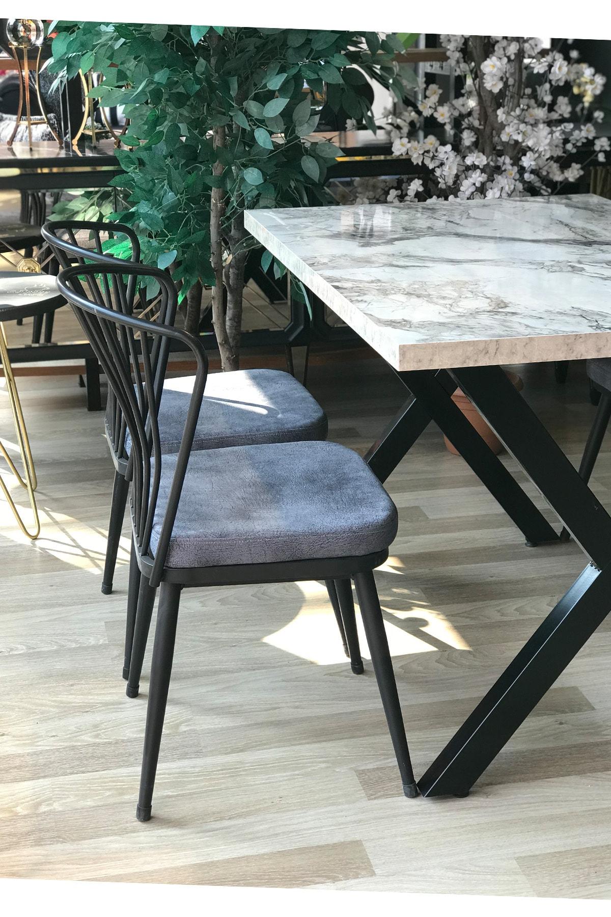 TE-HOME X Ayak Beyaz Mermer Masa +4 Omega Sandalye Gri 2