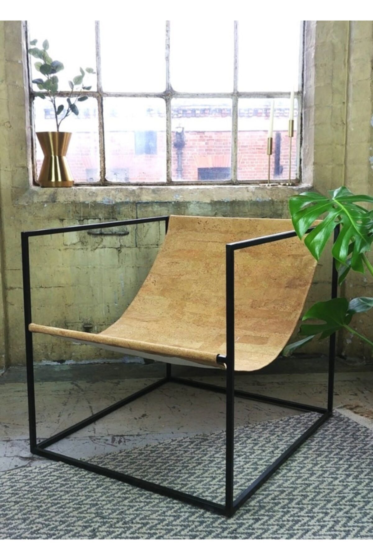 sohomanje Gerçek Deri Küp Metal Sandalye 1