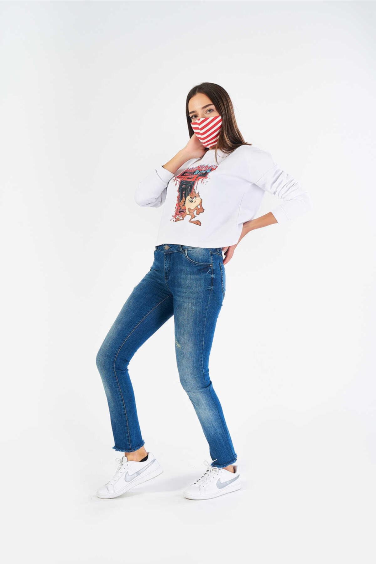 FINGER PRINT Kadın Mavi Denim Pantolon 1