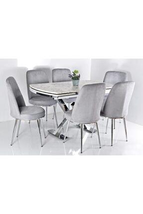 Kaktüs Avm Gri 6 Kişilik Açılır Masa Sandalye Takımı X Ayak Masa Yemek Masası Salon Masası Mutfak Masası