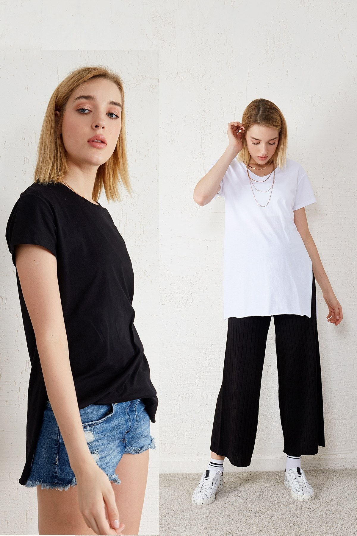 Eka Kadın Siyah - Beyaz 2'li Paket V Yaka Kısa Kol Yırtmaçlı T-shirt 1