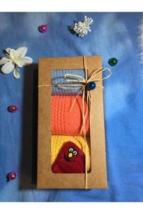 Adel Özel Kutusunda 3 Adet Renkli Kadın Soket Çorap 1 Adet Gülen Emojili Çorap