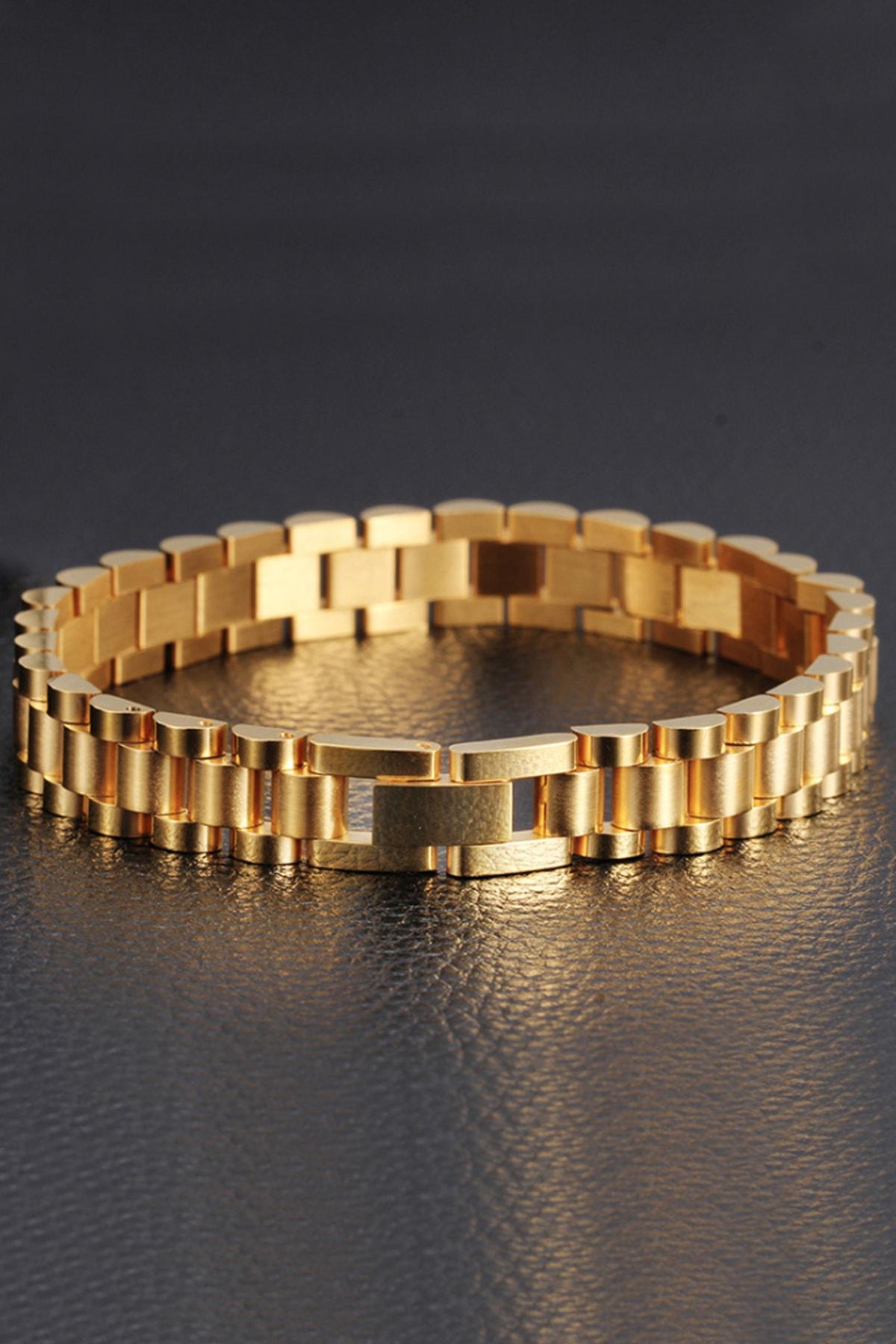 Chavin Gold 316 L Çelik Parlak Ve Mat Erkek Bileklik Ed02sr 2