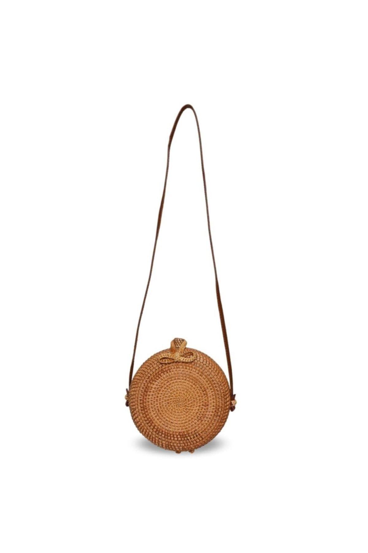 The All Brands Kadın Kahverengi Bagoist Tam Oval Rattan Çanta 20 cm 2