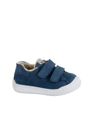 kids A more Unisex Lacivert Pearl Çift Cırtlı Deri İçi Kürklü Ayakkabı