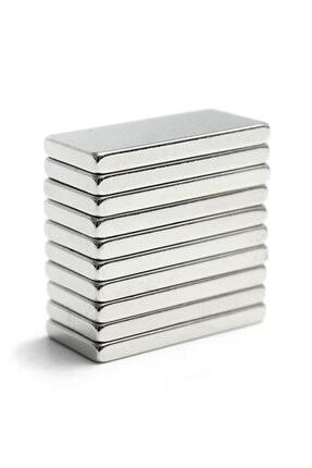 Dünya Magnet 10 Adet 20x10x2 Süper Güçlü Neodyum Mıknatıs Magnet (10'lu Paket)
