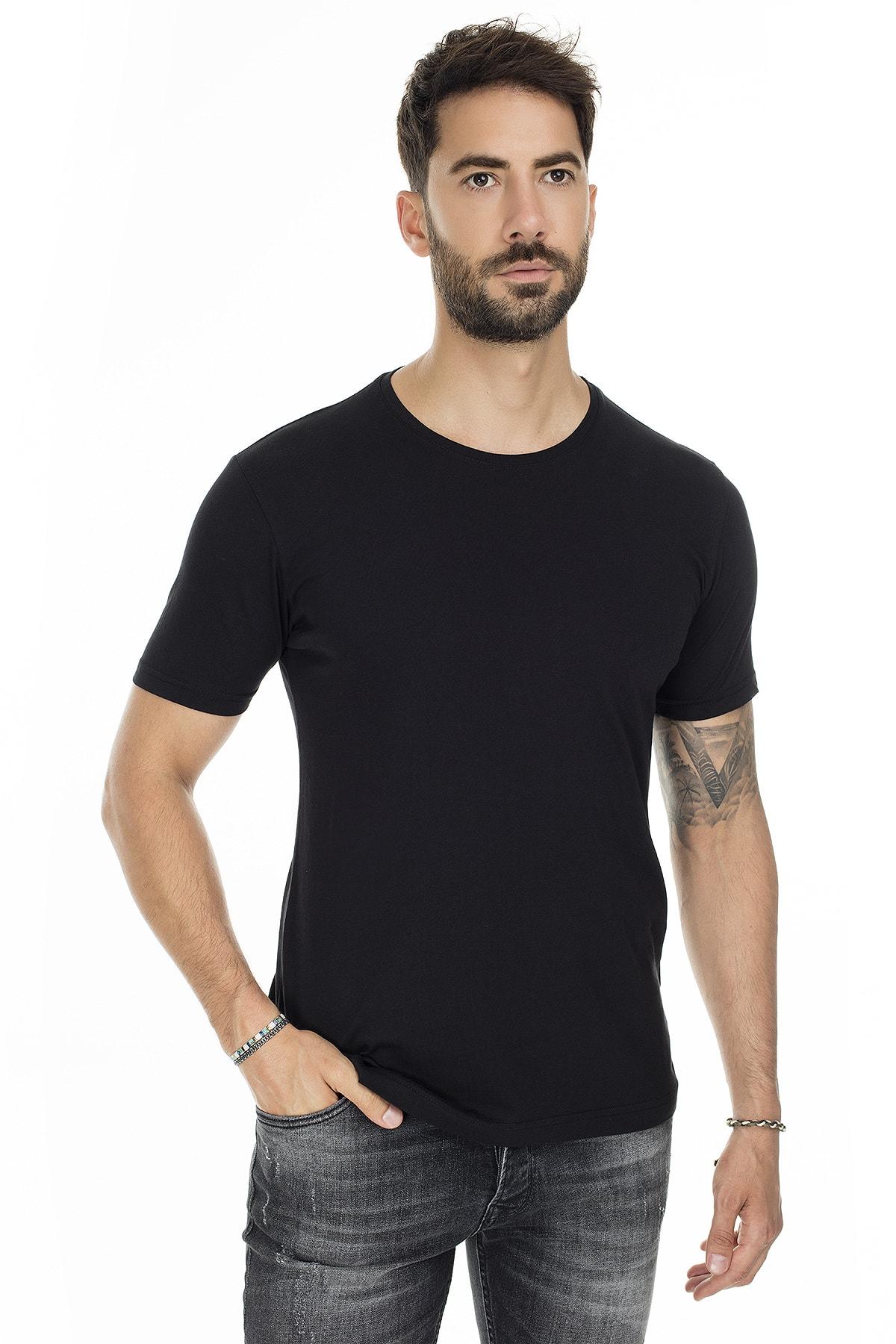 Buratti Erkek SİYAH Bisiklet Yaka Slim Fit Pamuklu Basic T Shirt 5722512O