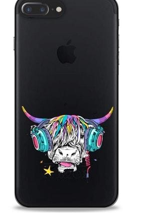 Lopard Zoologix (8) Apple Iphone 8 Plus Şeffaf Kılıf Silikon Desenli