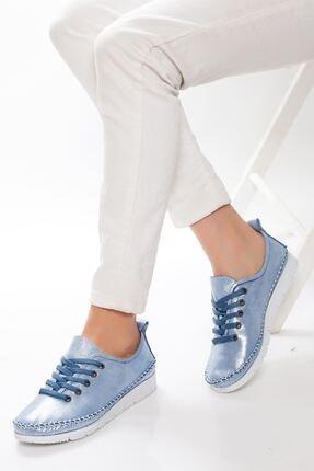 derithy Kadın Mavi Hakiki Deri Casual Ayakkabı