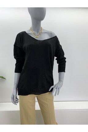Su Moda Kadın Pia Femina,baharlık Geniş Yaka,düşük Omuz Merserize Salaş Kazak,siyah