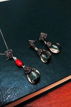 Dr. Stone Kadın Topaz Rengi Hindistan Kristali Ve Mercan Gümüş Set Xdrsott7