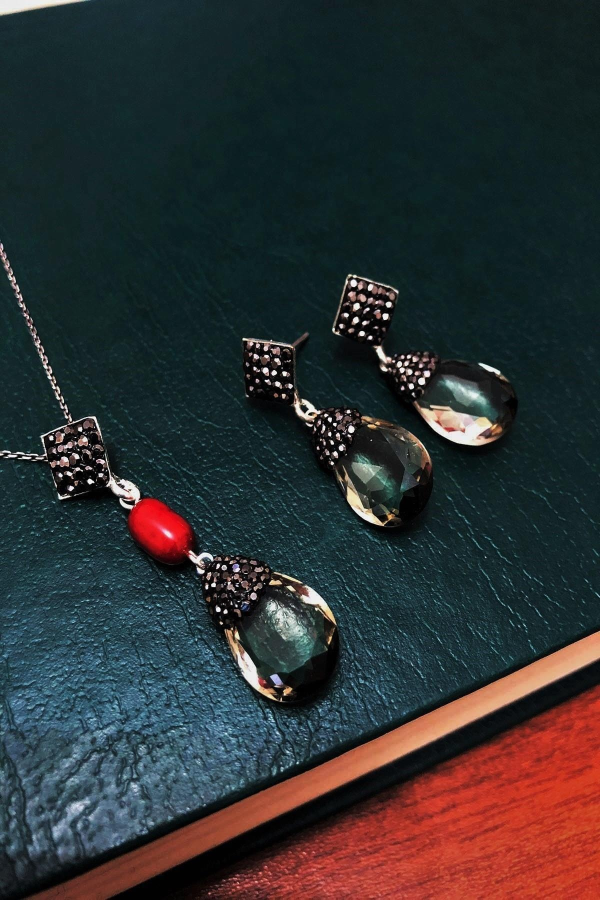 Dr. Stone Kadın Topaz Rengi Hindistan Kristali Ve Mercan Gümüş Set Xdrsott7 1