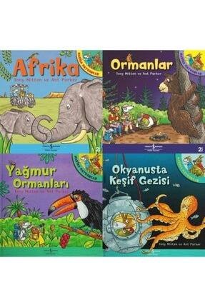 İş Bankası Kültür Yayınları 3-6 Yaş Renkli Resimli Büyük Boy Çocuk Masal Kitapları Seti 4 Kitap Set-afrika-ormanlar-okyanusta