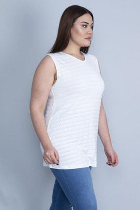 Şans Kadın Kemik Çizgili Kolsuz Basic Bluz 65N23060