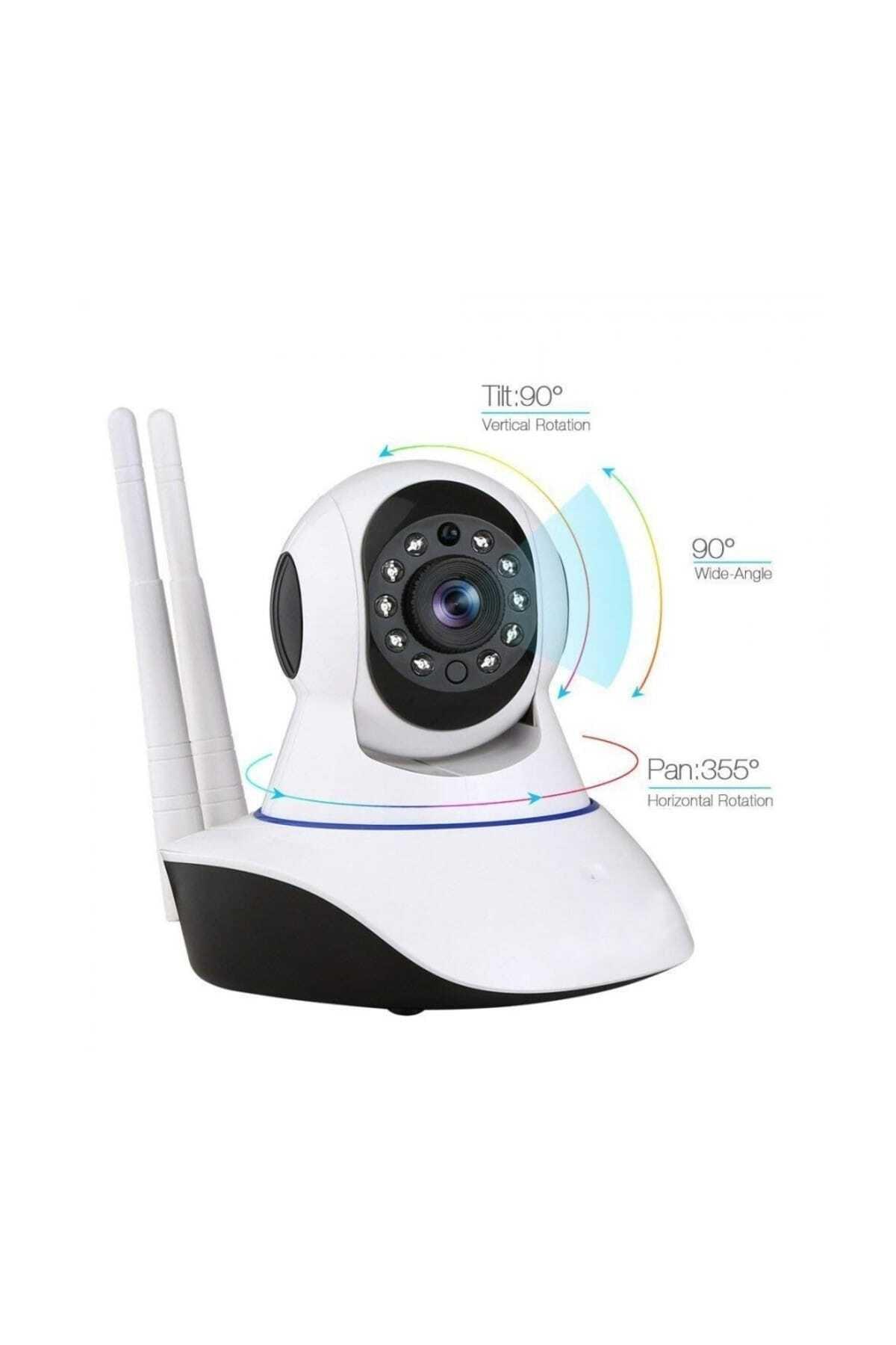 King Kablosuz Wifi İp Kamera 1080P Full HD 3 MP Hareketli Kamera Gece Görüşlü Beyaz 1