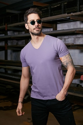 Sateen Men Erkek Mürdüm Kısa Kol V Yaka T-Shirt