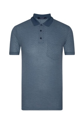 SÜVARİ Lacivert Regular Jakarlı Desenli Polo Yaka  T-Shirt