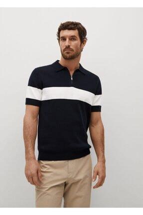 MANGO Man Erkek Yakası Fermuarlı Örgü Polo Gömlek