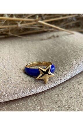 Markiz Takı Lacivert Yıldız Ayarlanabilir Yüzük