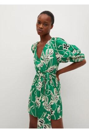 MANGO Woman Kadın Yeşil Desenli Elbise