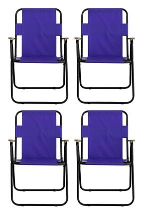 Piknik Dünyası Mor Ağaç Kollu Katlanır Plaj Piknik - Kamp Sandalyesi 4'lü Set