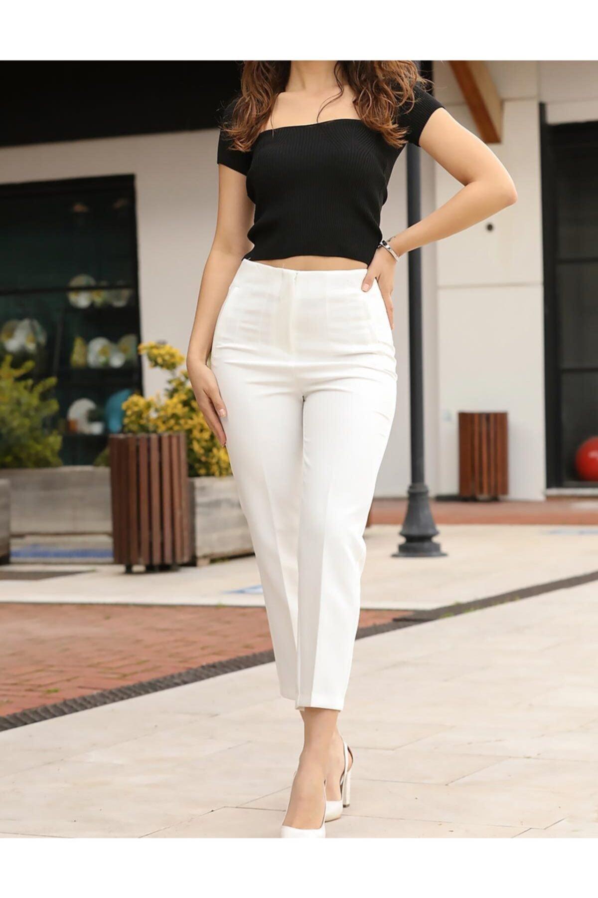 ZARAZA Kadın Ekru Pesli Pantolon 2