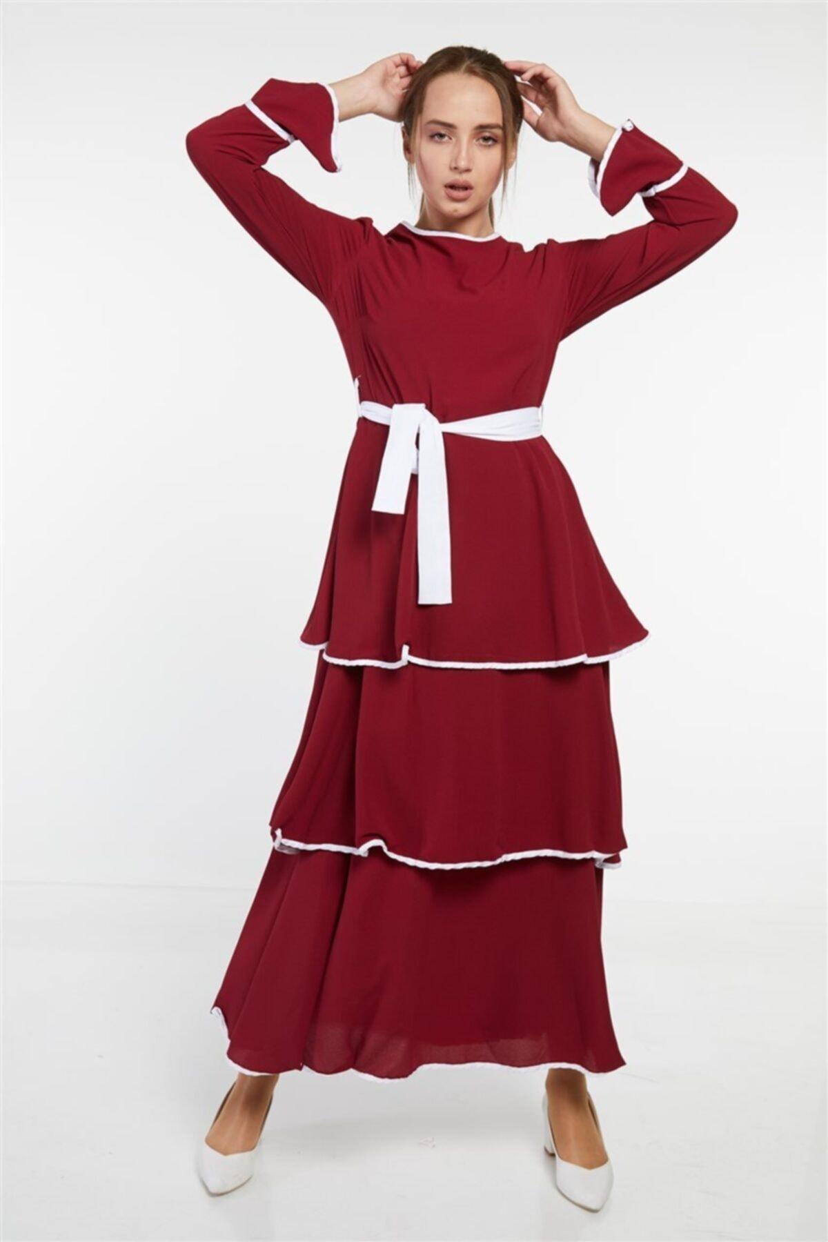 Butik Melina Elbise-bordo 2620-67 2