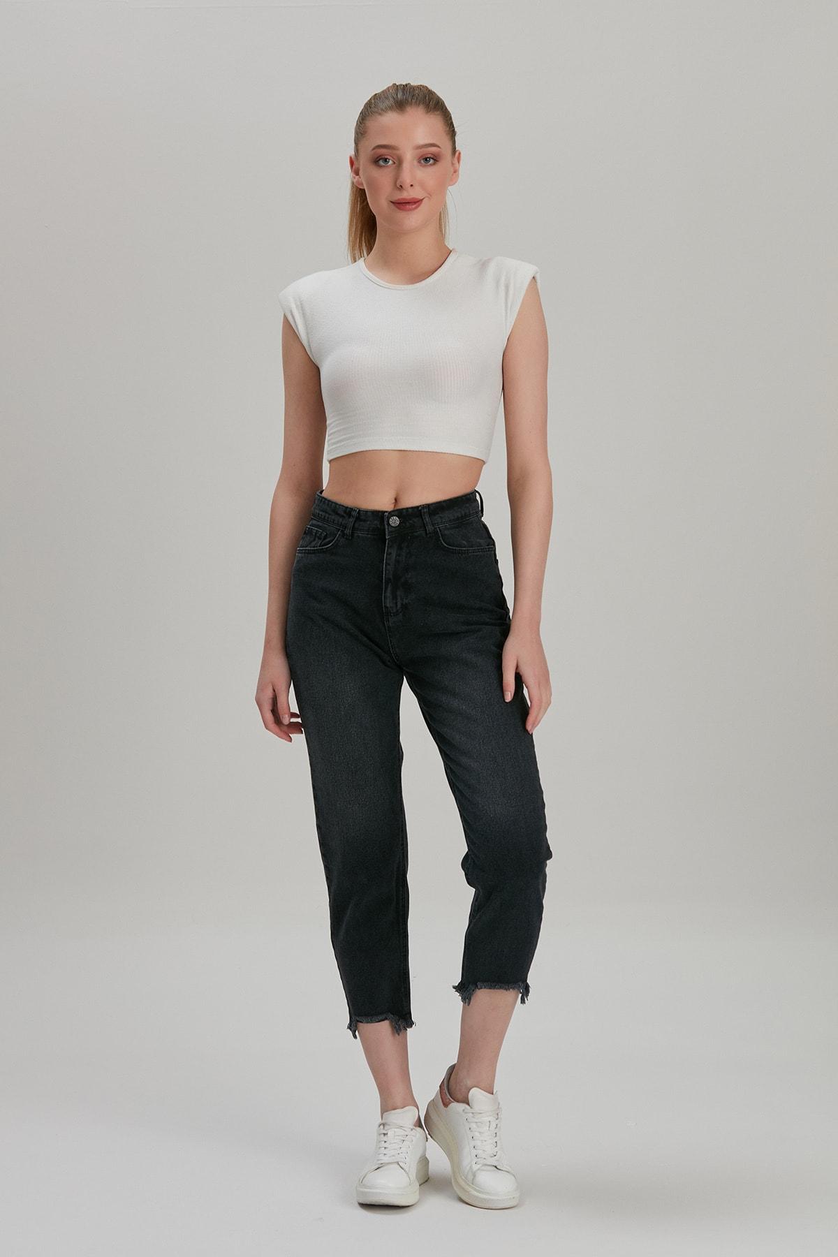 Modaca Kadın Siyah Mom Style Paça Püskül Detay Jean 1