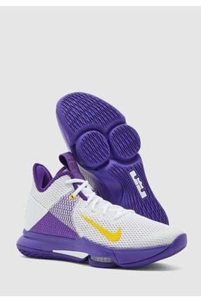 Nike Erkek Beyaz Mor Lebron Witness 4 Basketbol Ayakkabısı