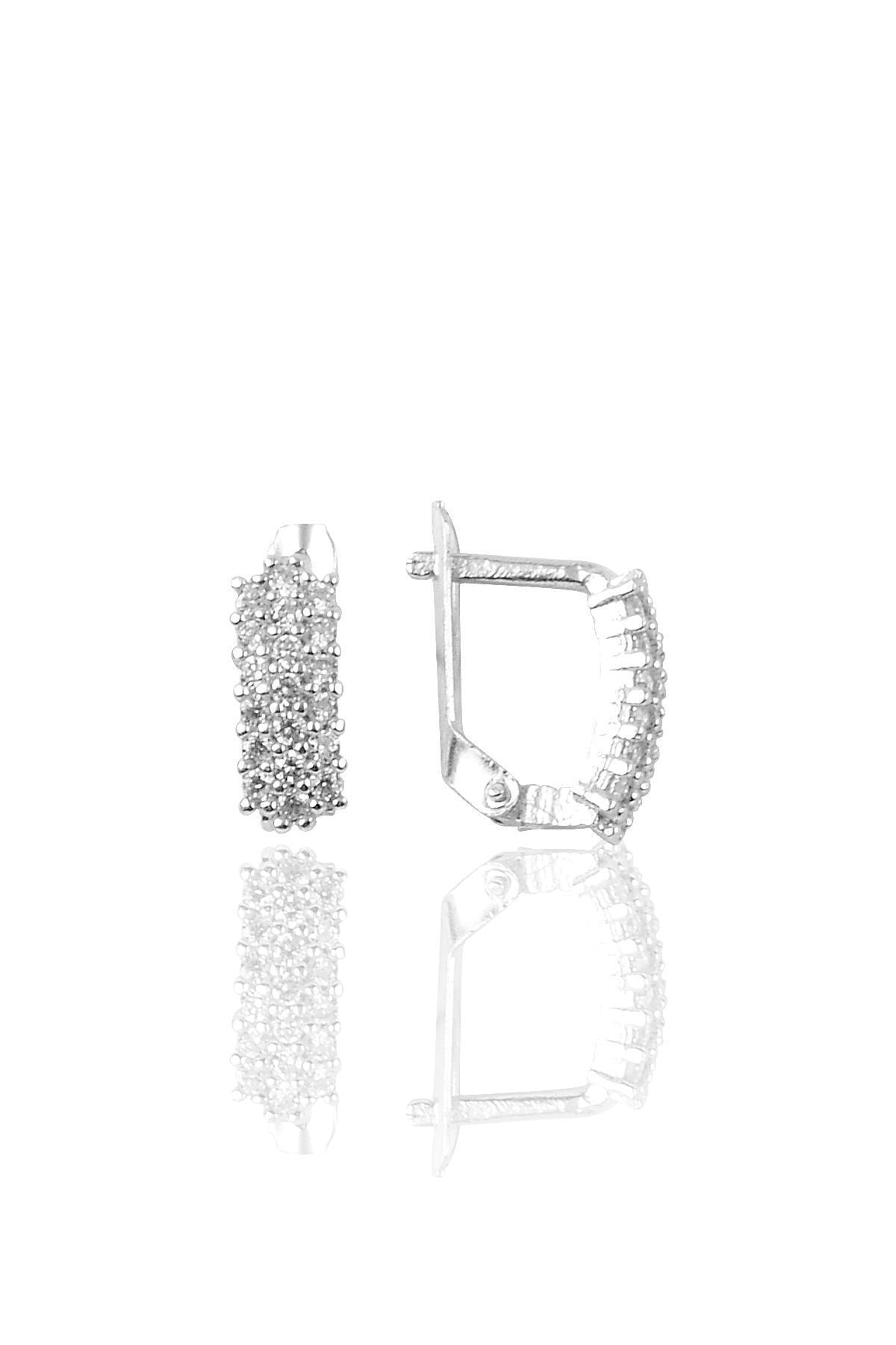Söğütlü Silver Gümüş Zirkon Taşlı J Küpe 1