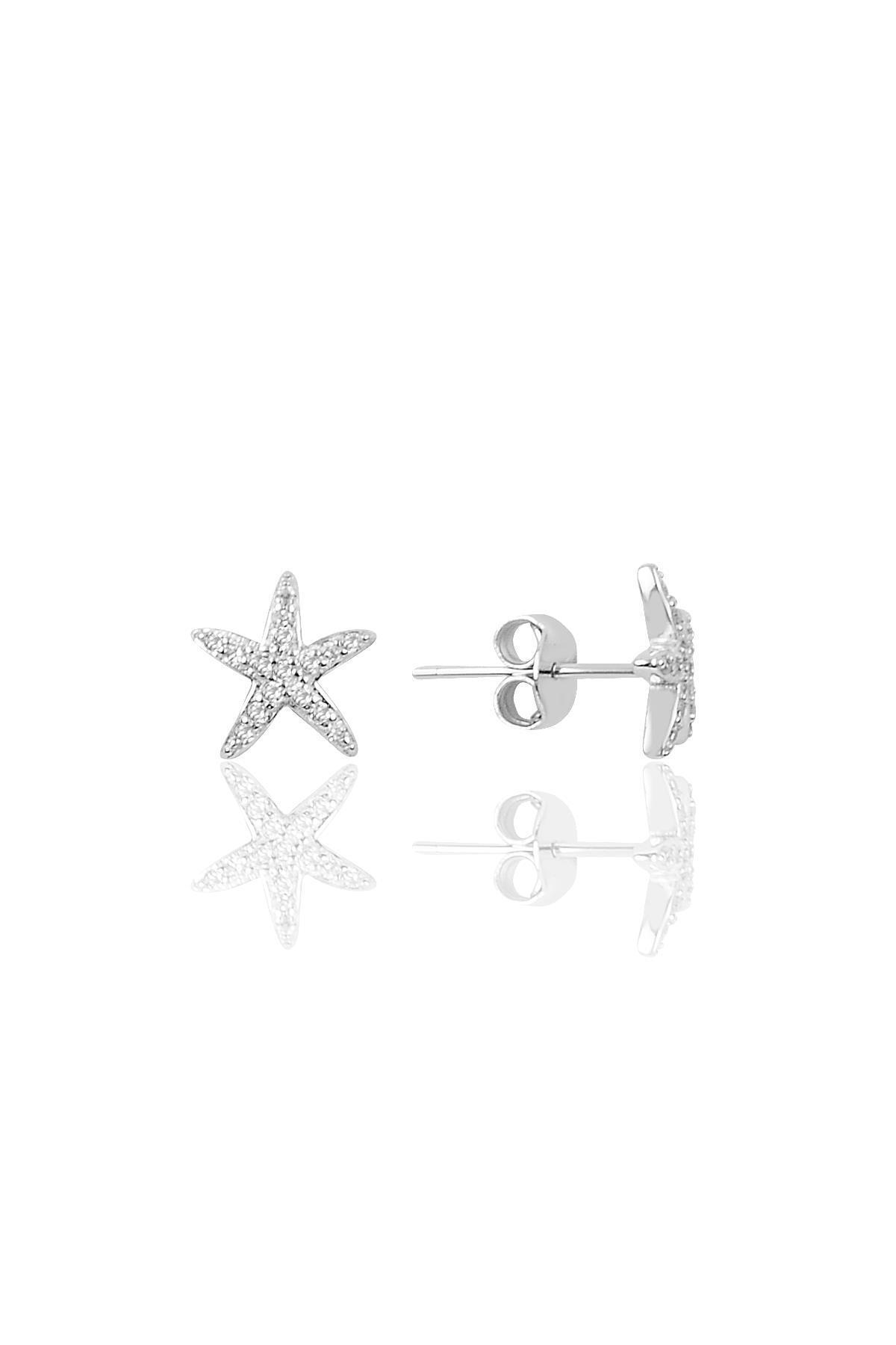 Söğütlü Silver Gümüş Zirkon Taşlı Deniz Yıldızı Modeli Küpe 1
