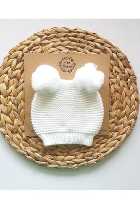 Asa Bebek Çocuk Çift Ponponlu Triko Bere Unisex-beyaz