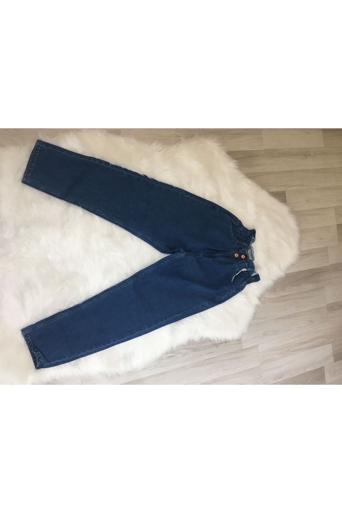 HACKER DENIM Beli Lastikli Mom Jeans Pantolon 1