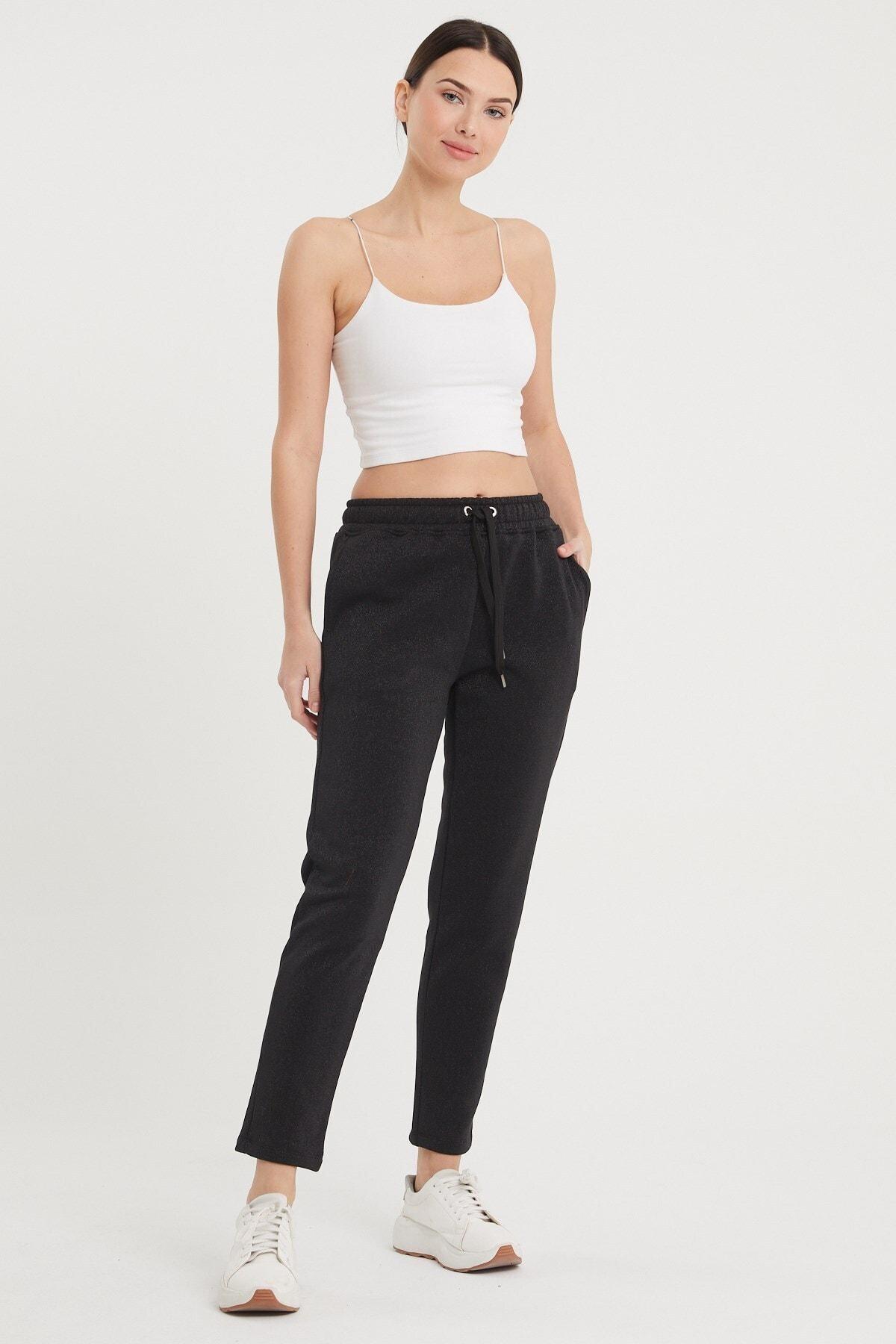 VENA Kadın Siyah Larıssa Simli Joggıng Pantolon 1