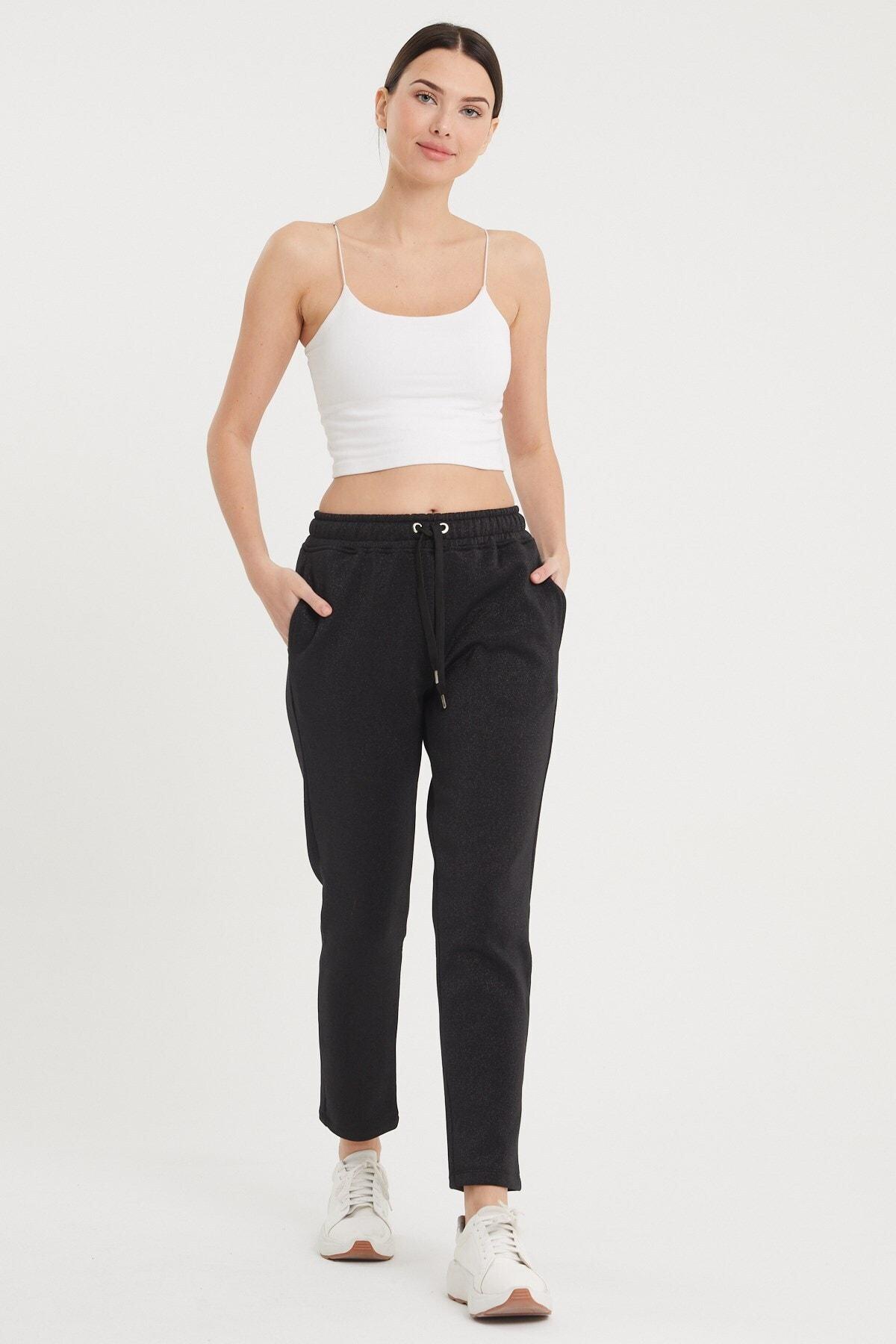 VENA Kadın Siyah Larıssa Simli Joggıng Pantolon 2