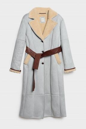 Yargıcı Kadın Gri Mavi Dikiş Detaylı Uzun Palto