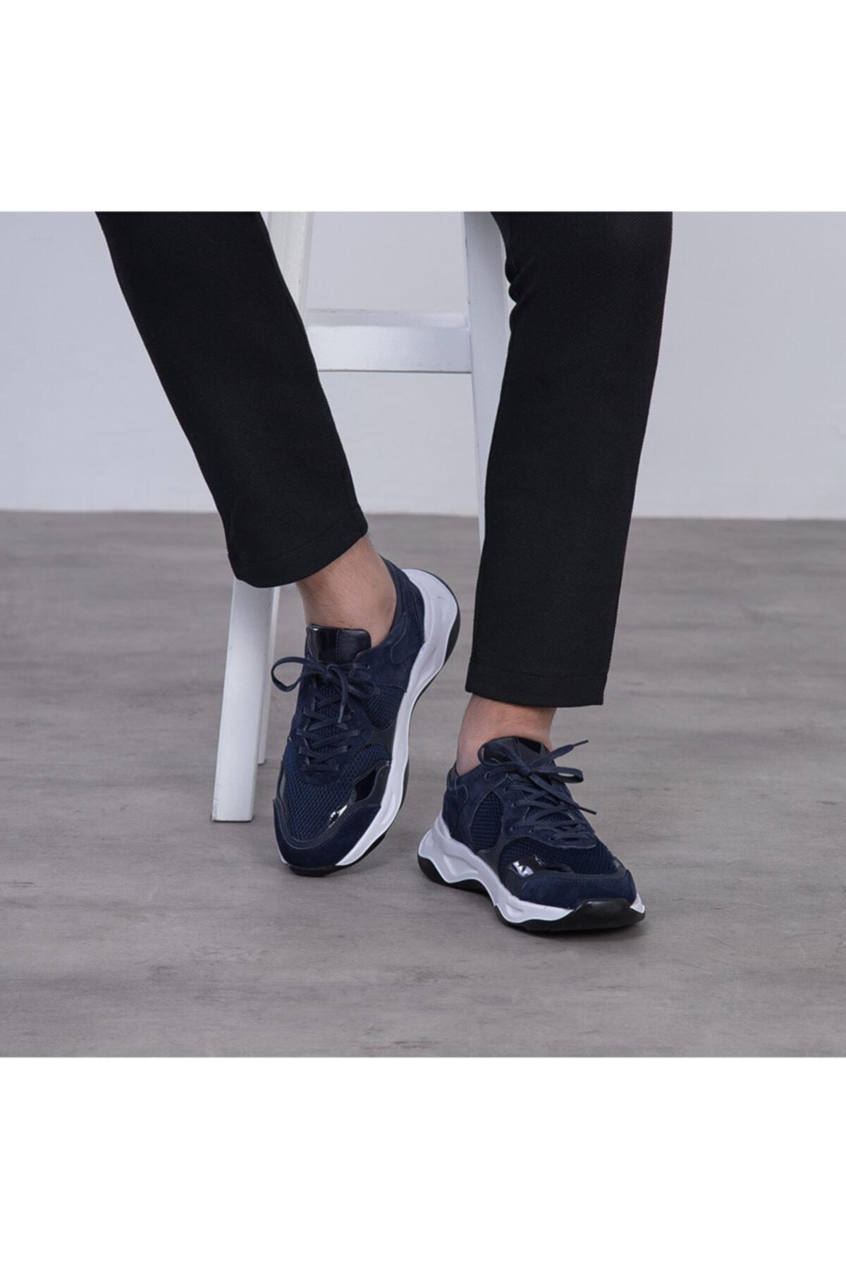GEGARO G055 Lacivert File Detaylı Siyah Beyaz Eva Taban Hakiki Süet Deri Erkek Sneakers 1