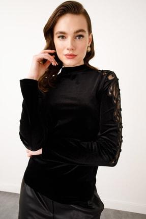 Ekol Kadın Siyah Omuzu Çiçek Tül Kadife Bluz